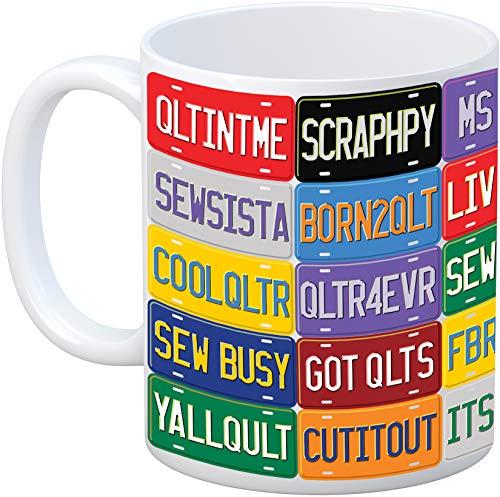 Quilt Happy License Plate Mug, Varues