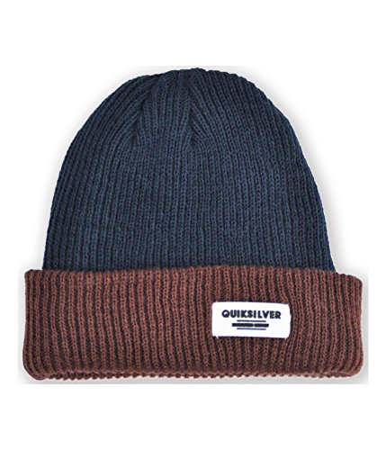 Quiksilver Men's Mussle Beanie Blue Brown One (Quiksilver Clothing Mens Beanie)