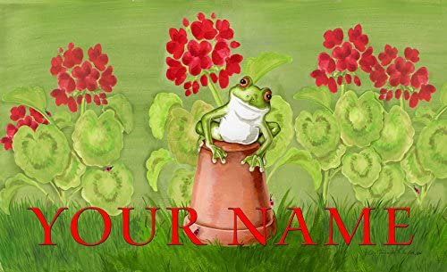 Toland – Potted Frog Personalized Customizable Indoor Outdoor Welcome Door Mat USA-Produced