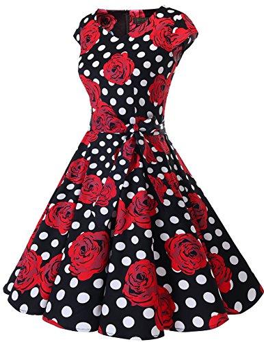 Dresstells Rétro Des Années 1950 Robes De Cocktail Robe Swing Vintage Avec Mancherons Noir Rouge Rose Dot