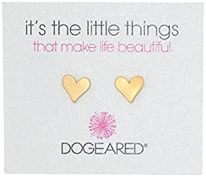 """Dogeared """"It's the Little Things"""" Gold-Plated Silver Heart Post Earrings"""