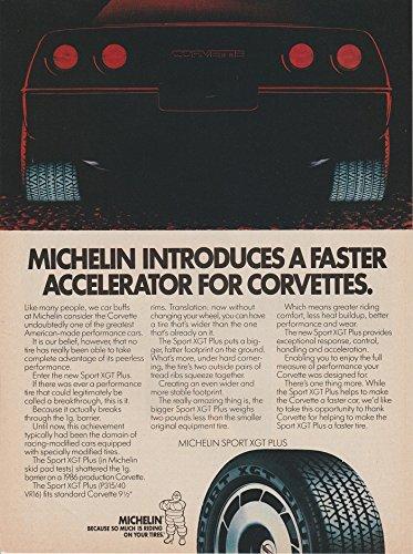 ORIGINAL *PRINT AD* 1987 MICHELIN SPORT XGT PLUS TIRES with CHEVROLET CORVETTE