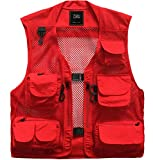 ZSHOW Men's Lightweight Mesh Fishing Vest Multi Pockets Photography Outdoor Jacket(Red,X-Small)