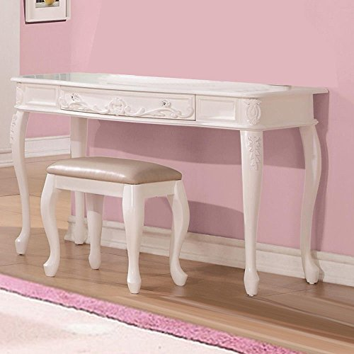 Carved Cabriole Legs - Simple Relax 1PerfectChoice Lovely Youth Girls Study Desk Vanity Table Cabriole Legs With Leaf Decor White