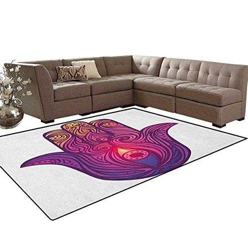 Hamsa,Floor Mat,Vivid Floral Swirls Symbol of Aura Energy Flow Harmony Health Doodle,Soft Area Rugs,Violet Pale Pink Peach Size:5'x6'
