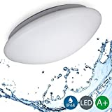 LED Bathroom Ceiling Light I Kitchen, living room lamp I Ø 29 cm I Flush mount light fitting I Splash-Proof Lamp I Matt White Timeless Design I 12 W Module I Warm White I Metal and Plastic I IP44