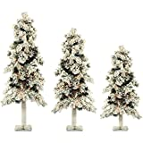 Fraser Hill Farm Set of 3 Snowy Alpine Christmas Trees with Clear Lights (2, 3, 4-Ft ft, 3 ft, 4 ft.)