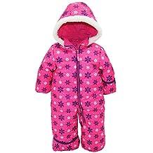 Pink Platinum Baby Girls One Piece Warm Winter Puffer Snowsuit Pram Bunting, Purple Snowflakes, 12 Months
