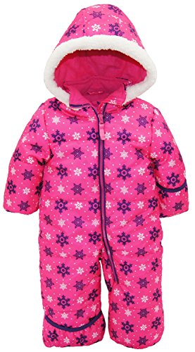 Pink Platinum Baby Girls One Piece Warm Winter Puffer Snowsuit Pram Bunting, Pink Snowflakes, 12 Months - One Piece Insulated Ski Suit