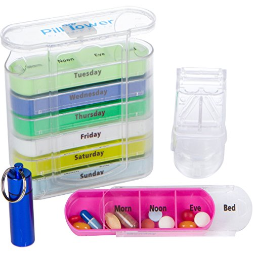 Pill Tower Stackable Organizer 7 Day, AM PM Medicine Box. Large Easy Open Weekly Prescription Medication Dispenser. Four Compartment Daily with Pill Cutter and Aluminum Travel Keyring Pill Fob