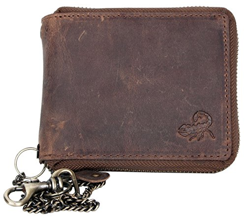 Genuine Leather Wallet with Metal Zip Around (zipper around) with Scorpion with Chain