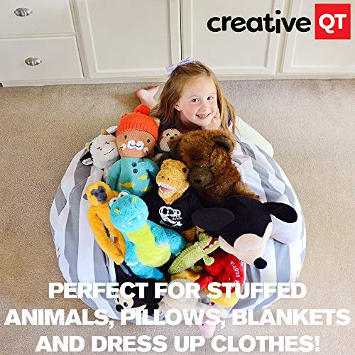 """Creative QT Stuffed Animal Storage Bean Bag Chair - Extra Large Stuff 'n Sit Organization for Kids Toy Storage - Available in a Variety of Sizes and Colors (38"""", Grey/White Striped)"""