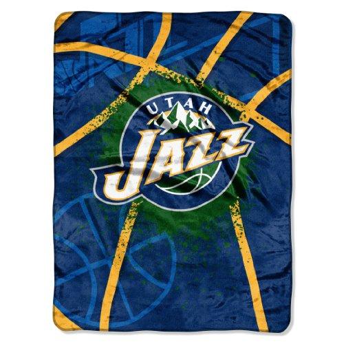 Officially Licensed NBA Utah Jazz Shadow Play Plush Raschel Throw Blanket, 60