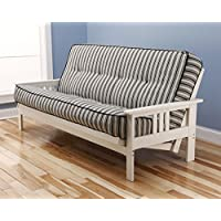 Victoria Futon Sofa Bed White Frame W/garden Premium Mattress (Navy Stripe)