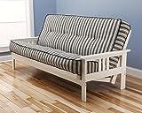 Victoria Futon Sofa Bed White Frame W/garden Premium Mattress (Navy Stripe)