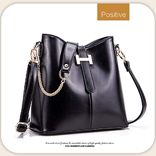 Bag Bag Brown Drawstring Leather Bucket EDLUX Messenger Cotton 13 PU 27cm x Ladies Handbag Fashion and Women Bag with Chained x Handle Polyester Shoulder 28 Buckle for Black with 5EwwnqpRxO