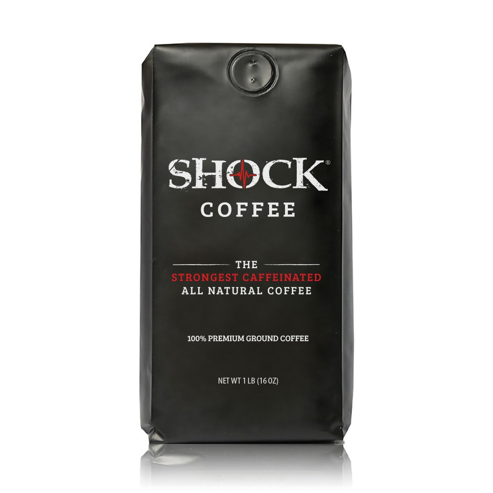 Shock Coffee, The Strongest Caffeinated All-Natural Coffee 100% Premium Ground, 16 oz.
