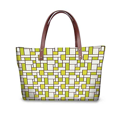 - Custom Handbag Tote Shopping Bags Geometric,Grid Design Squares Rectangles Abstract Shapes Pattern,Chestnut Brown Apple Green Cream Printing Tote Duffle