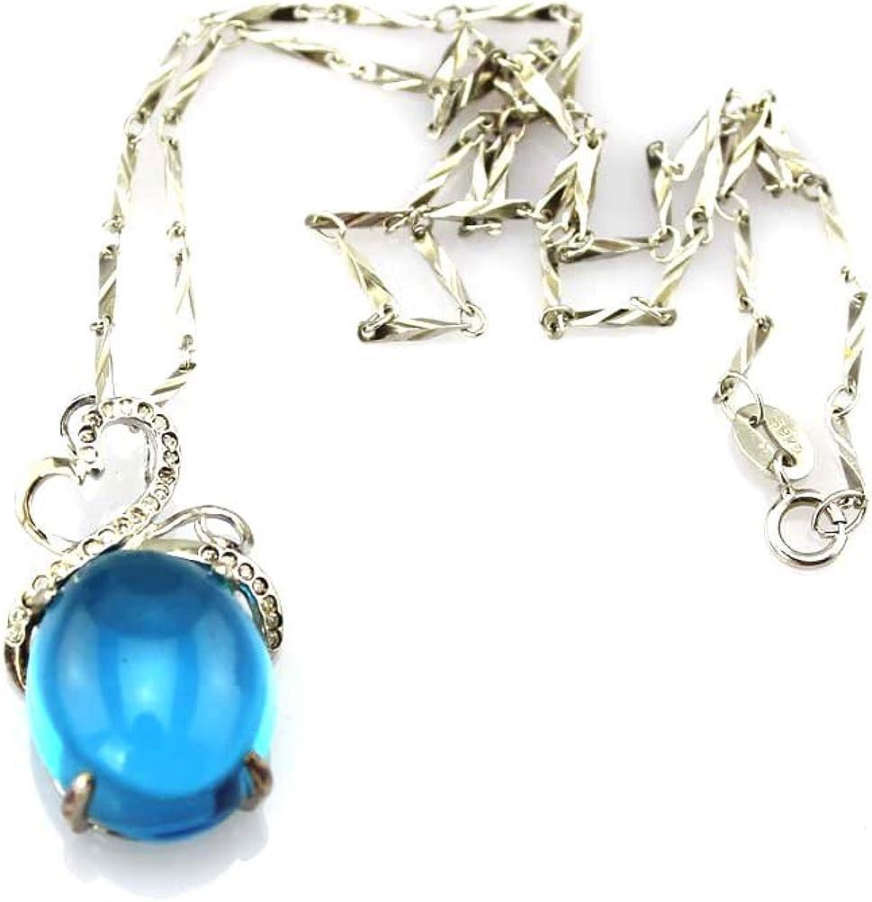 Jade Angel Collar Plata de Ley con 13 x 17 mm Creado Oval Azul Zircon Cúbico Colgante con Cadena de Plata 45,72 cm
