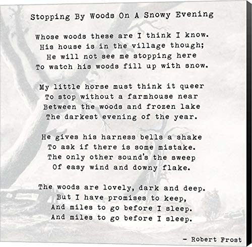 Stopping by Woods On A Snowy Evening - Robert Frost Canvas Art Wall Picture, Museum Wrapped with Black Sides, 22 x 22 inches