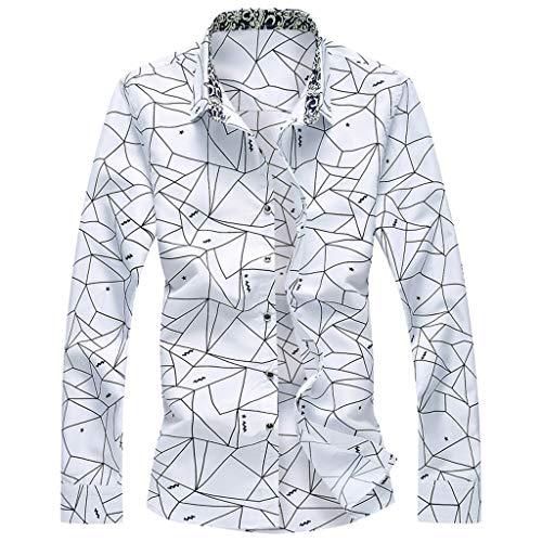 Dress Shirts Casual Button Down Shirt Fashion Shirts Long Sleeve Beach Tops Loose Casual Blouse Men (4XL,2- White)]()