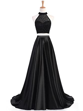 Liyuke Halter Beaded Prom Dresses Two Piece Long Formal Evening Gowns for Women 2018 Black US