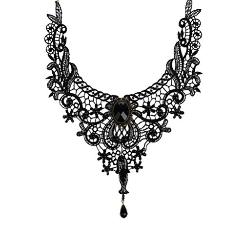 Buytra Victorian Steampunk Style Lace Gothic Collar Lolita Beads Pendant Choker Necklace, Black - Black Vintage Beads