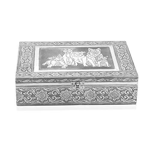 - Handcrafted Aluminium Dogs Embossed 2 Tier Jewelry Organizer Box Storage 11x3x8