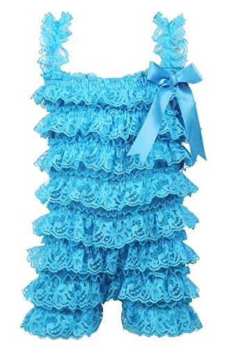 DOMIRY Sleeveless Bodysuits for Baby Boys Girls Toddler Summer Colorful Ruffled Romper Clothes Outfit Bowknot Lace Folds Onsies for Infants (Azure, S(3-6M)) ()