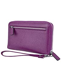 Yaluxe Women's Leather Clutch Wristlet Wallet Phone Passport Holder Credit Card Organizer RFID Blocking Protection