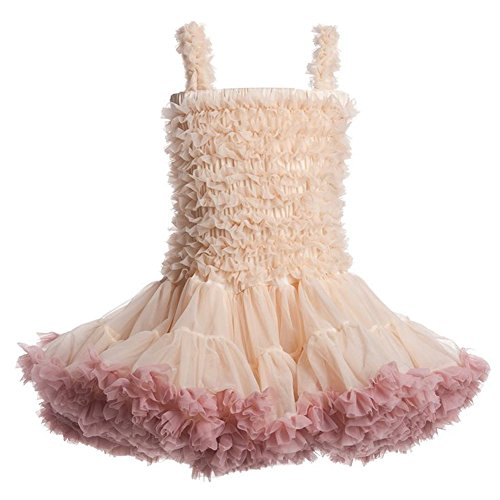 Little Toddler Girls Ballet Tutu Dress Splicing Beige and Red Baby Princess Girl Fancy Dresses (Beige, (Toddler Fancy Dress)