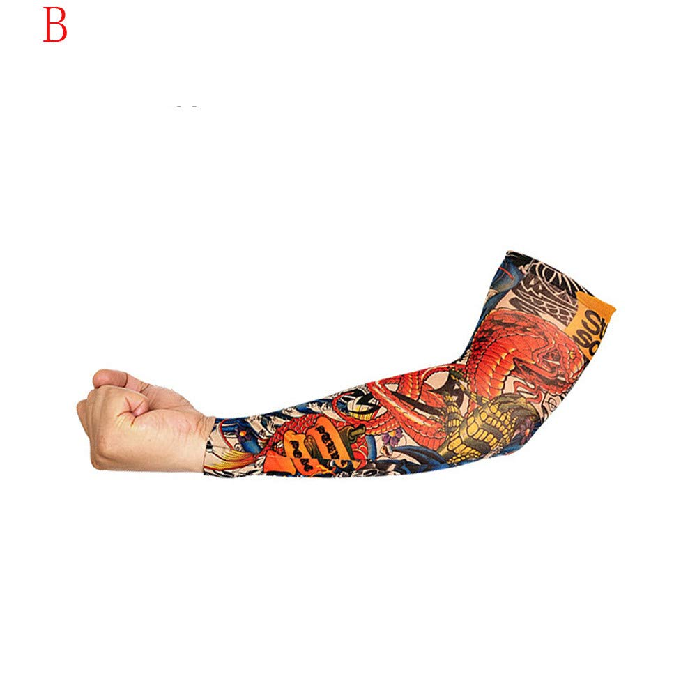 1Pc Elastic Temporary Tattoo Sleeve Tattoo Sleeves Cover up Tattoo Arm Sleeves for Men UV Protection Nylon Unisex Stretchable Cosplay Costume Accessories - Pattern Random (B)