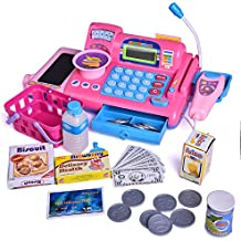 Fun Little Toys Cash Register Toy Set for Kids Pretend & Play With Groceries Checkout Educational Learning Toys Register Coins Play Money Key With Electronic Sounds 33 PCs