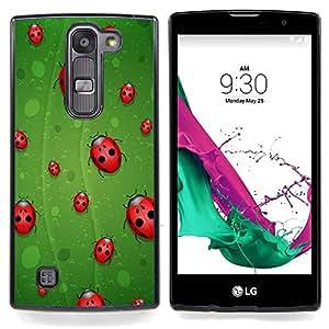 "Qstar Arte & diseño plástico duro Fundas Cover Cubre Hard Case Cover para LG G4c Curve H522Y ( G4 MINI , NOT FOR LG G4 ) (Mariquita Hoja Verde Rojo Arte Naturaleza Eco Bug Primavera"")"