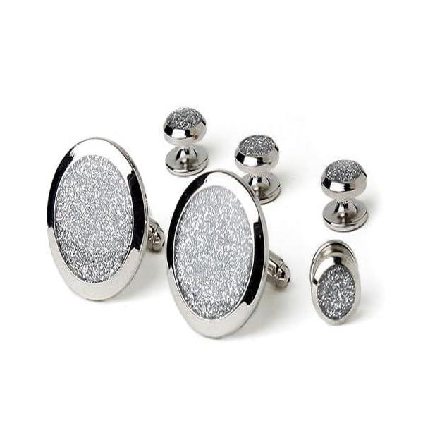 Silver-Diamond-Dust-Tuxedo-Studs-and-Cufflinks-Set-Silver-Trim