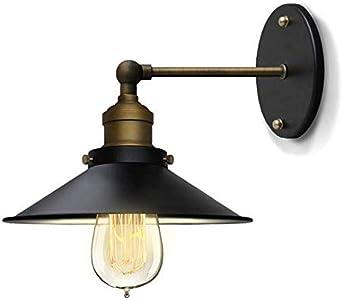 Iluminación de pared de metal luz de noche retro escalera de metal lámpara de pared pequeña con falda negra (sin luz): Amazon.es: Iluminación