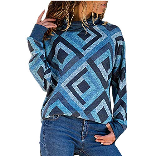 Wobuoke Women Casual Autumn Long Sleeve Fashion Geometric Turtleneck Blouse Pullover Sweater Shirt ()