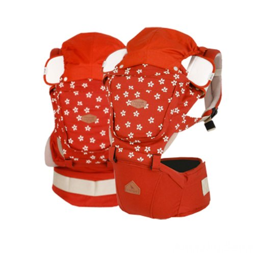 I-Angel Rainbow Hipseat + Hipseat Carrier + Baby Carrier (3 in 1) (Flower Orange)
