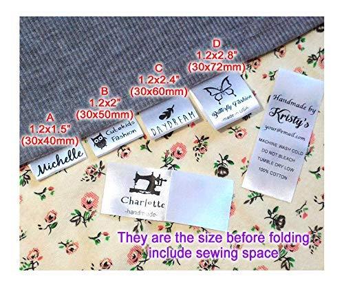 - Custom Text Logo Personalized Sewing Hanging Satin Ribbon Labels Folding Name tag Washable wash Care Label (D (1.2