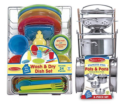 Melissa & Doug Stainless Steel Pots and Pans and Let's Pla