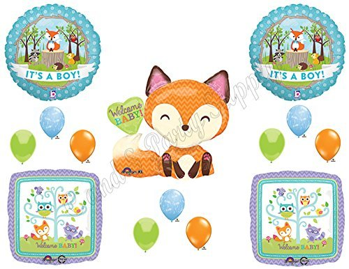 (It's A Boy Woodland Friends Baby Shower Balloons Decoration Supplies Fox Chevron by Anagram)