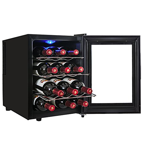 AKDY® 12 Bottle Single Zone Thermoelectric Stainless Steel Freestanding Wine Cooler Cellar Chiller Refrigerator Fridge Quiet Operation (Small Wine Refrigerator compare prices)