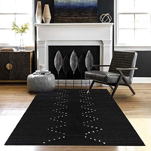 KIMODE Moroccan Cotton Area Rug 4' x 6'| Farmhouse Throw Rugs| Hand Woven Diamond Print Tassels Collection Rugs| Entryway Floor mat