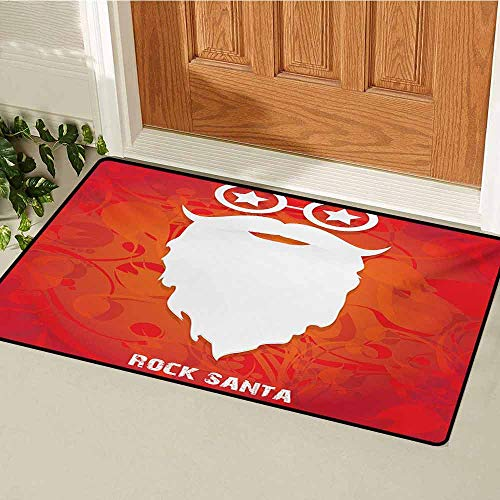 Betty Boop Round Glass - GUUVOR Indie Inlet Outdoor Door mat Rock Santa Claus Christmas Theme Beard Silhouette and Round Glasses with Stars Catch dust Snow and mud W19.7 x L31.5 Inch Red Orange White