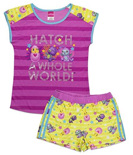 Hatchimals Girls' Big Hatch a Whole World 2 Piece Short Sleeve Pajama Set, Pink Green, Size - Print Tailored Pajamas