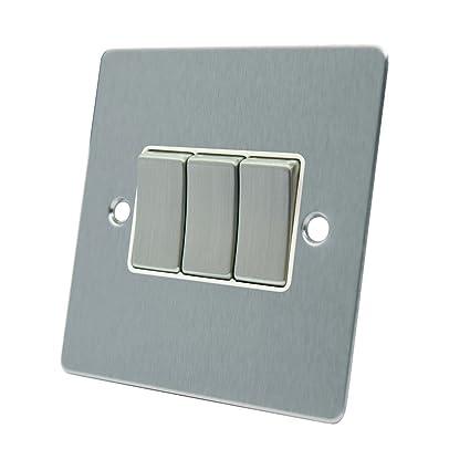 AET FSC3GSWIBS 10 A - Cuadro de 3 interruptores de Cromo Satinado con Interruptor de Metal