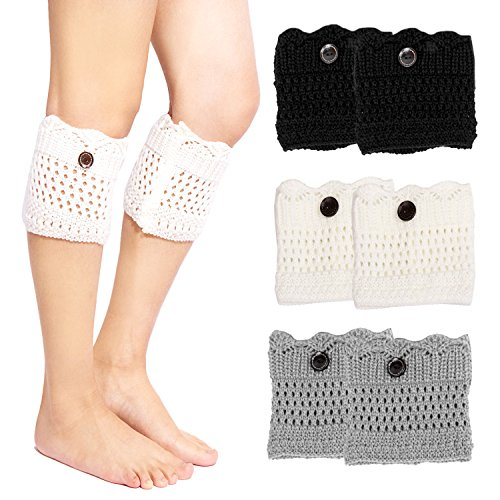 Short Cuff Sock (3 Pack Womens Winter Crochet Boot Cuff Sock Short Leg Warmer)