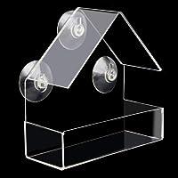Mengonee Abnehmbare Sucker Pet Transparent Window Bird Feeder Haus-Form Kunststoff klar Bird Feeder