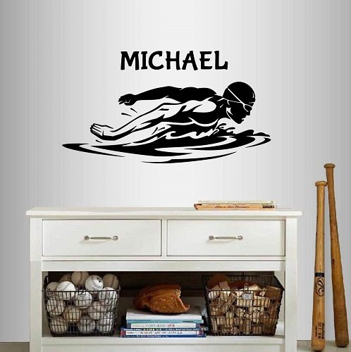 (In-Style Decals Wall Vinyl Decal Home Decor Art Sticker Swimming Man Swimmer Swim Water Sport Customized Name Sportsman Room Removable Stylish Mural Unique Design 2307)
