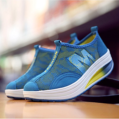 up Mesh Fitness Blue Shape Shoes Sneakers Women Toning Walking Enllerviid 606 Slip On Platform qBTwUxAntE